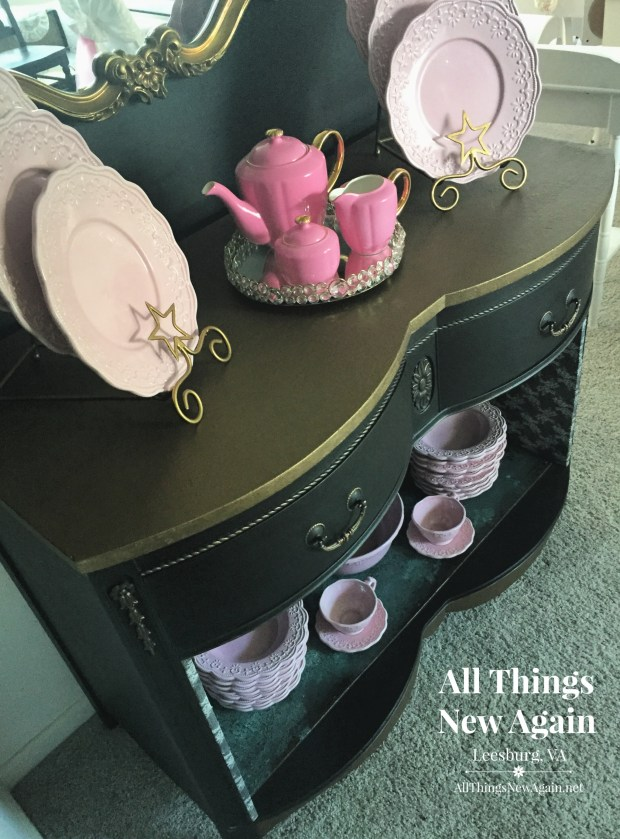 Black Buffet with Glam Gold Trim | All Things New Again | Leesburg VA | Upcycled Furniture
