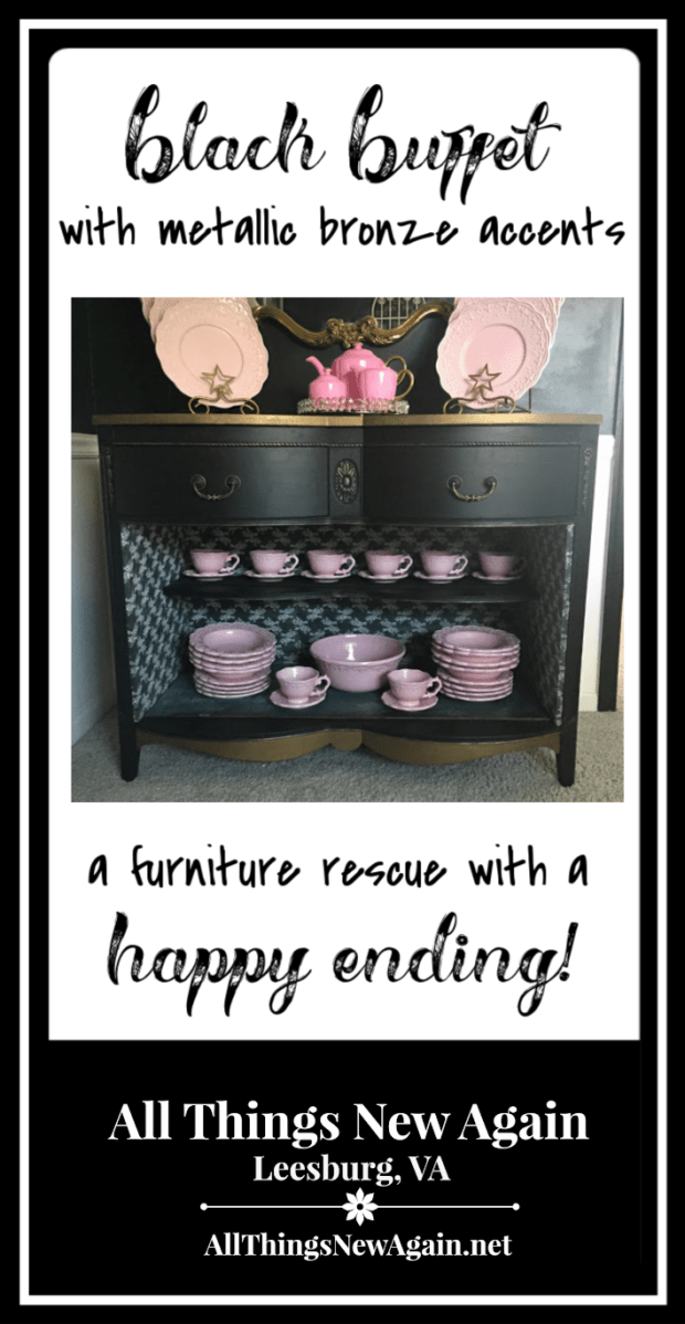 Black Buffet with Metallic Bronze Accents | Furniture Rescue | Painted Furniture | All Things New Again Blog