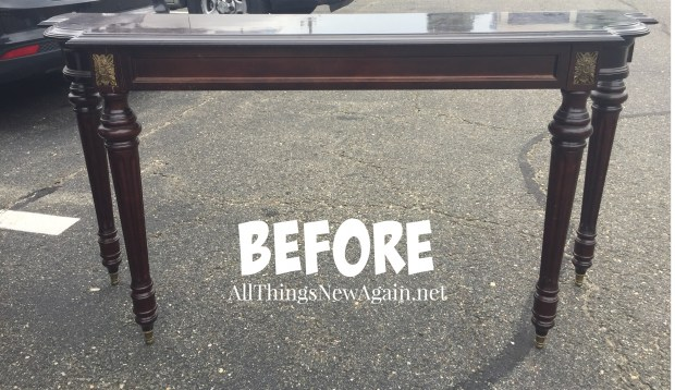 Elegant Sofa Table | Before Shot | Decorating with Purple