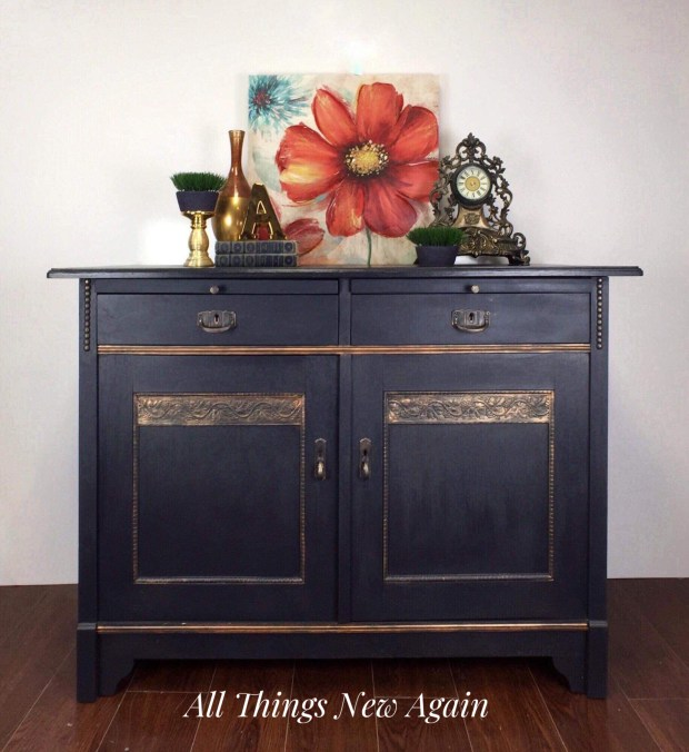 Navy Blue Furniture | Navy Blue Buffet | Blue Buffet | Blue Sideboard | Blue Painted Furniture | Dixie Belle Paint | In the Navy