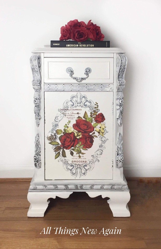 Vintage nightstand with red flowers | Wild Roses furniture transfer