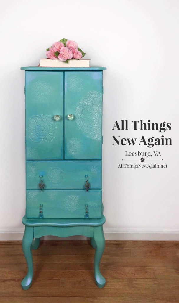 Jewelry Armoire | Painted Furniture | Dixie Mud | Raised Stencil | All Things New Again | Leesburg VA