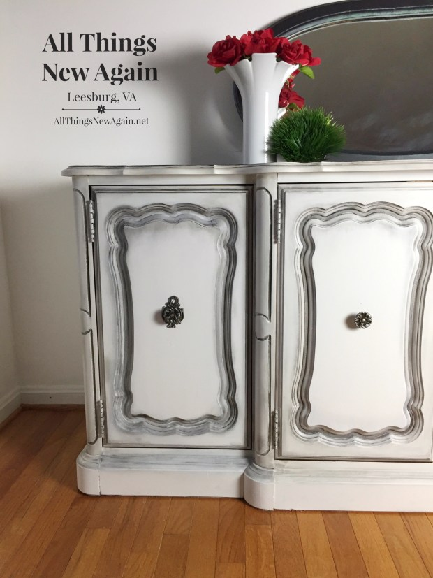 white paint with black wax | painted furniture | buffet for sale