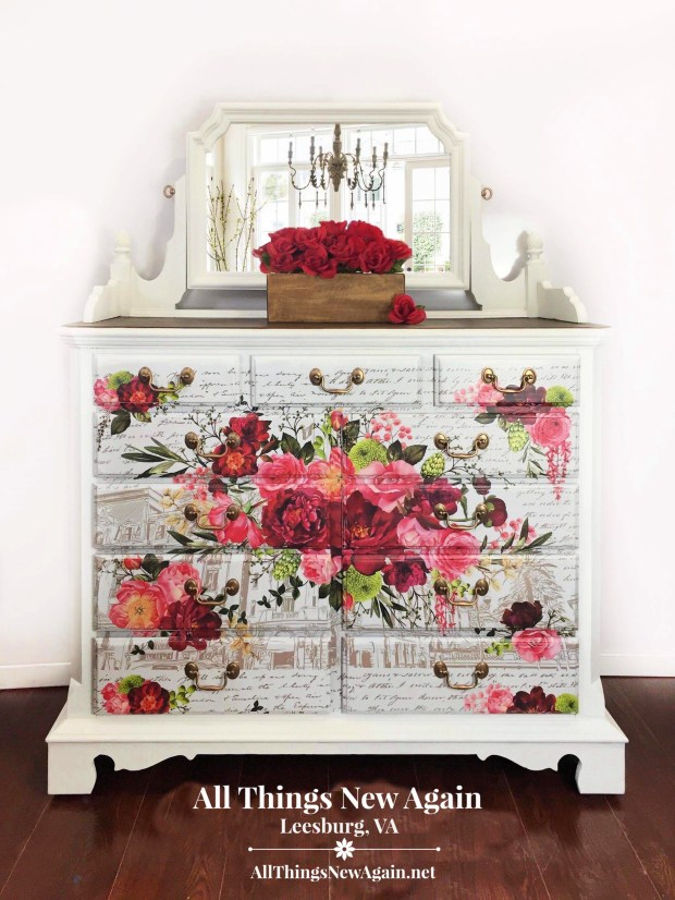 White Dresser for Sale | White Dresser with Mirror | White Dresser with Red Flowers