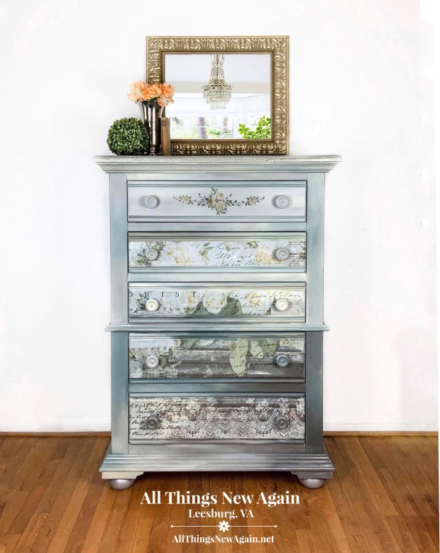 Gray Dresser for sale | White Fleur furniture transfer | Painted furniture for sale | Leesburg VA | All Things New Again