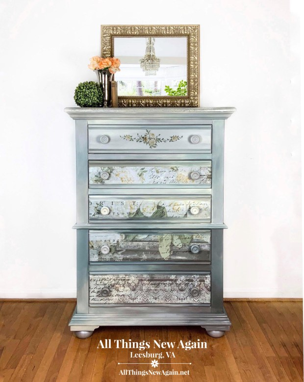 Gray Dresser for Sale | Dresser with ReDesign with Prima White Fleur furniture transfer | Painted furniture for sale Leesburg VA