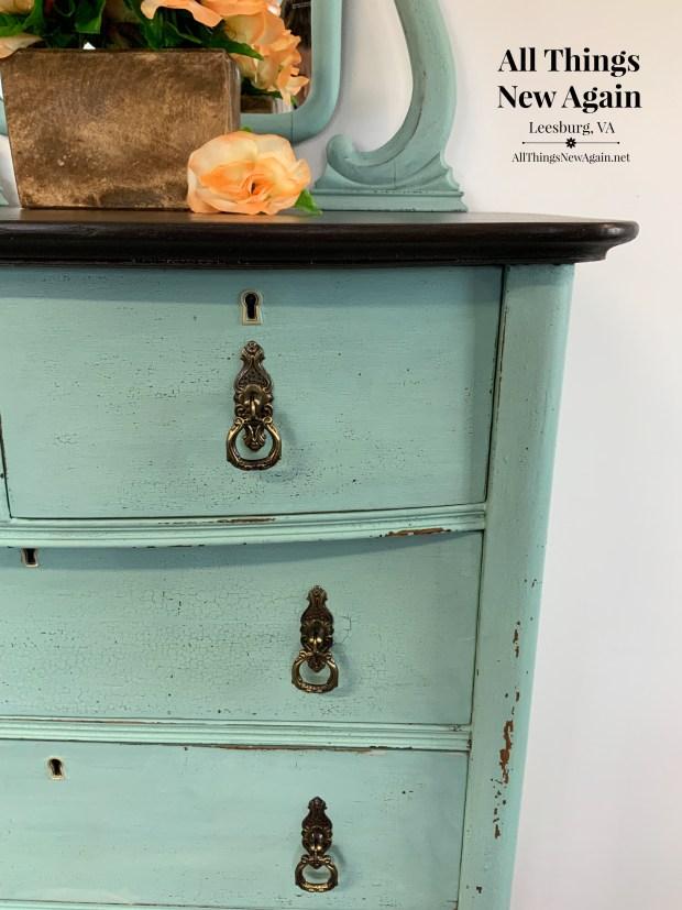 milk paint dresser | aqua dresser | dresser painted blue