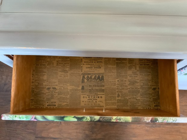 Dresser with Vintage Newspaper inside drawers