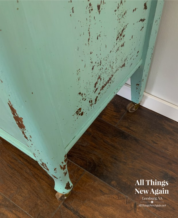milk paint chips naturally to create a beautiful vintage look on furniture