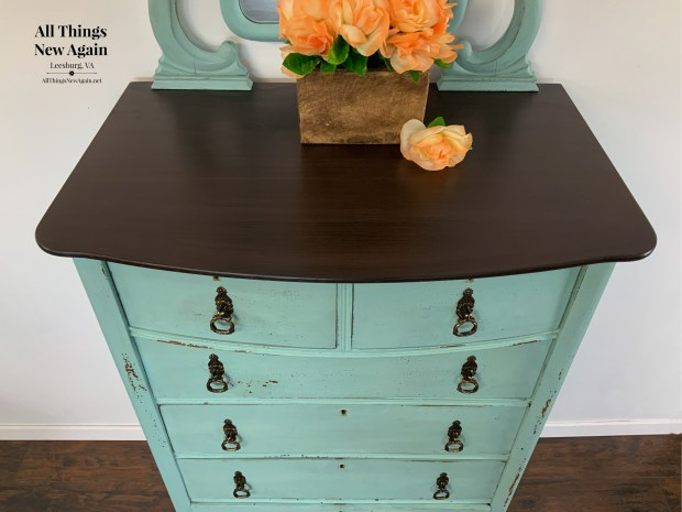 Dixie Belle Paint Co Coffee Bean | Dresser with Brown Top | Faux Stained Top