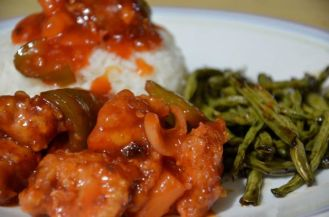 Sweet and Sour Pork with Green Beans on Oyster Sauce