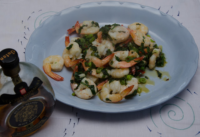 GAMBERI AL COGNAC (Prawns cooked with cognac or brandy)