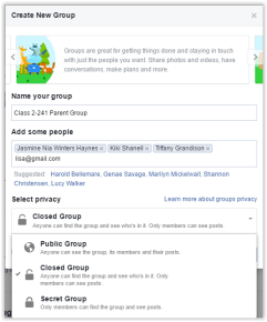 Name your group and set privacy. You must add at least one friend to the group.