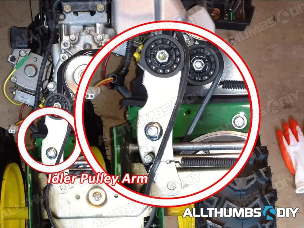 medium resolution of allthumbsdiy johndeere 1330se belt idler pulley arm fl