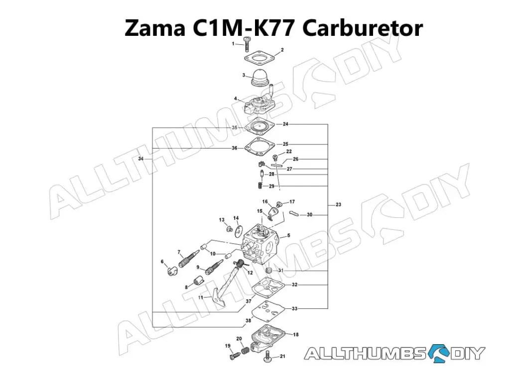 zama carburetor parts diagram goat intestines echo pb 413h c1m k77 tear down cleaning rebuild allthumbsdiy outdoor power equip leaf blower