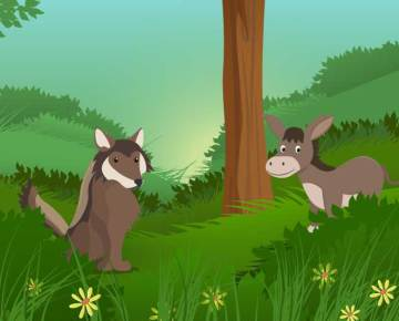 The donkey and the wolf children Moral stories