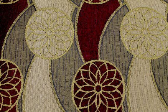 tissu jacquard d ameublement rosace bordeaux de qualite tissu au metre alltissus com
