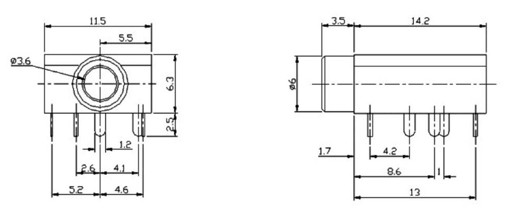 2 x 3.5mm Audio Stereo Headphone Socket 5 Pin PJ-324M PCB