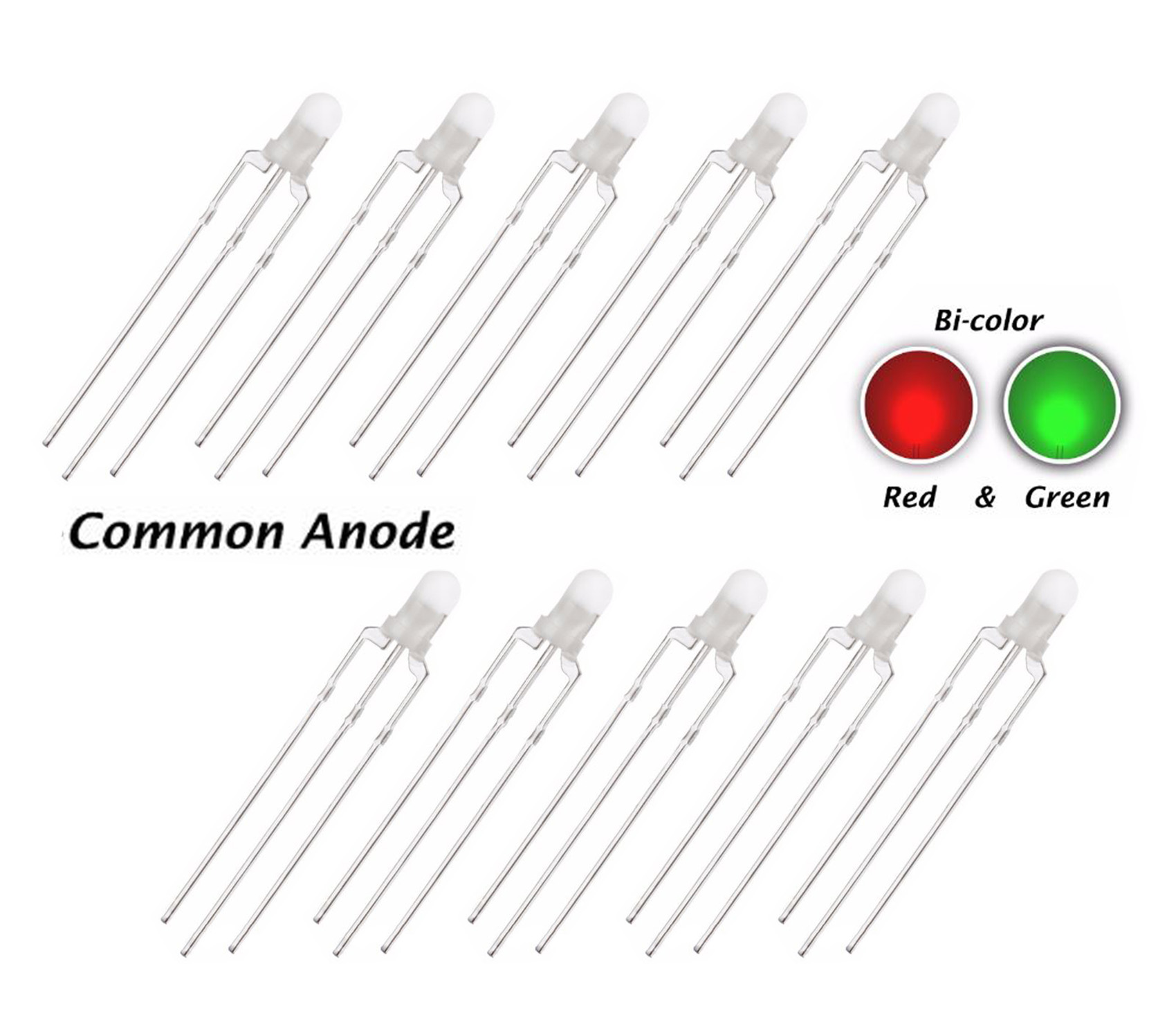 10 X 3mm Led Bi Colour Red Amp Green Diffused Common Anode