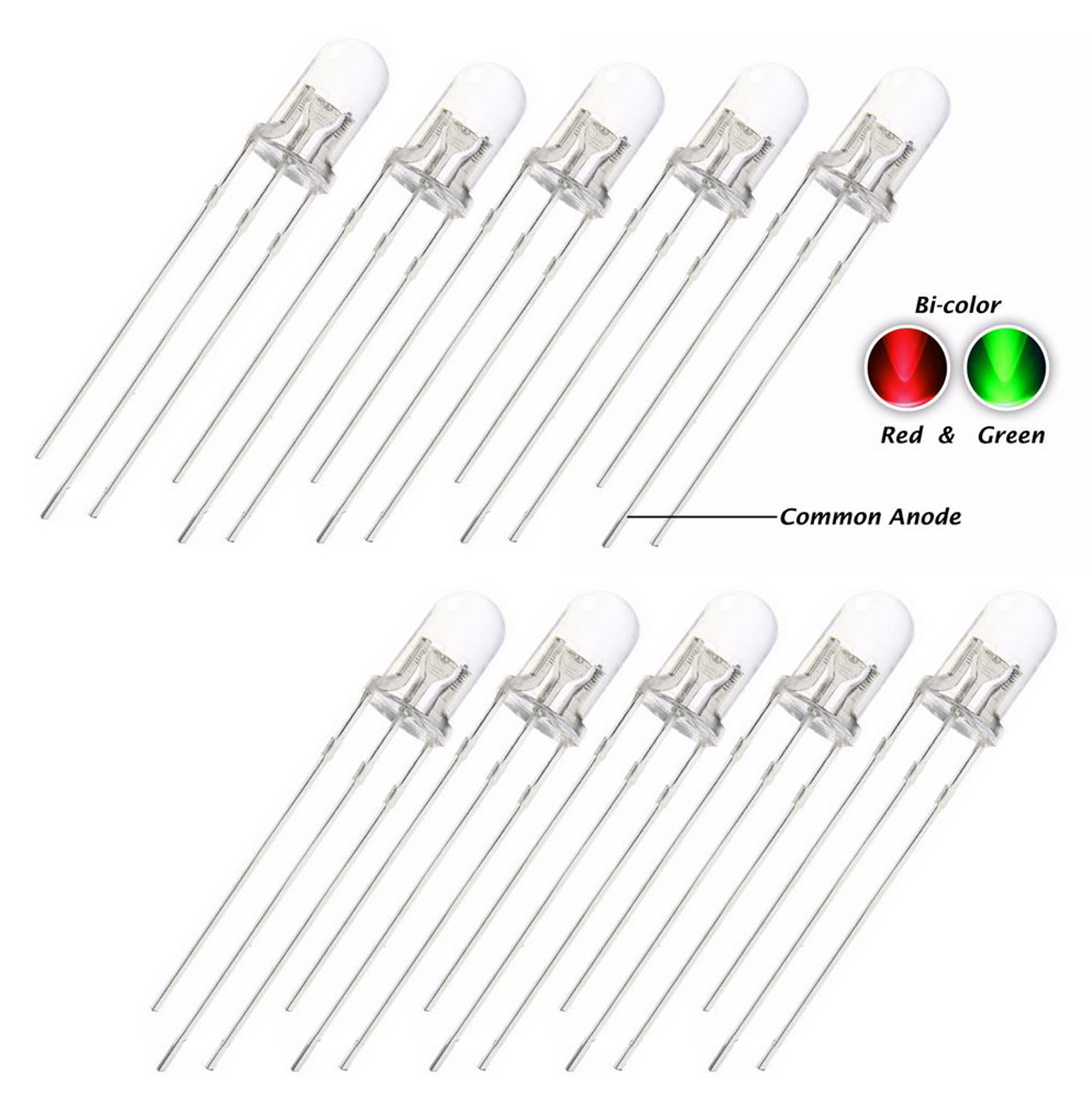 10 X 5mm Led Bi Colour Red Amp Green Clear Common Anode