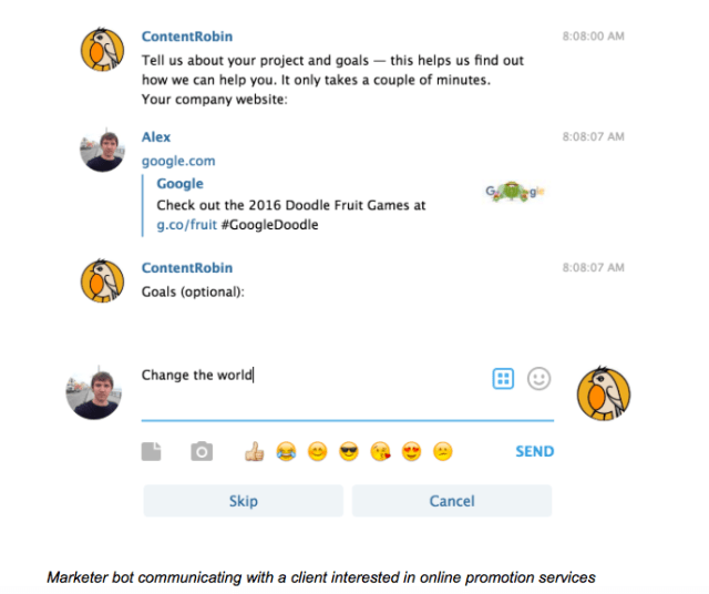 marketer-bot-communicating-with-a-client