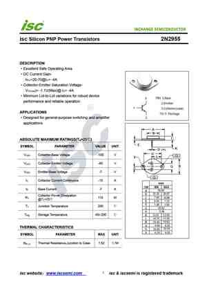 2N2955 Datasheet, Equivalent, Cross Reference Search