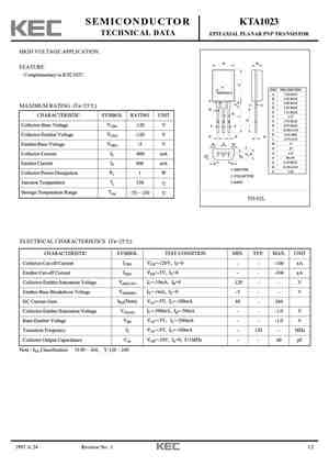 A1023 Datasheet, Equivalent, Cross Reference Search