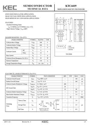 KTC4419 Datasheet, Equivalent, Cross Reference Search