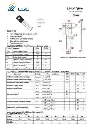 LB123T Datasheet, Equivalent, Cross Reference Search