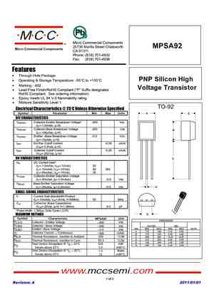 MPSA92 Datasheet, Equivalent, Cross Reference Search