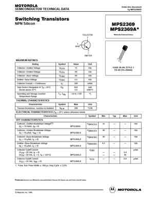 MPS2369 Datasheet, Equivalent, Cross Reference Search