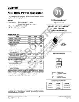BD249C Datasheet, Equivalent, Cross Reference Search
