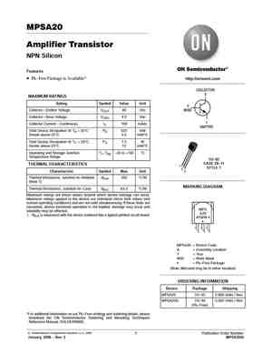 MPSA20 Datasheet, Equivalent, Cross Reference Search
