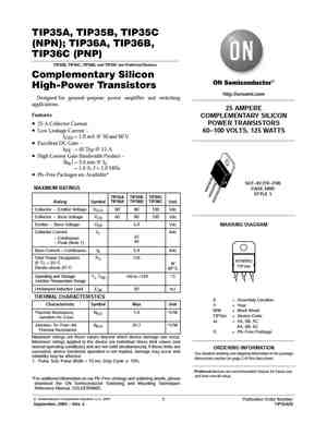 TIP35C Datasheet, Equivalent, Cross Reference Search