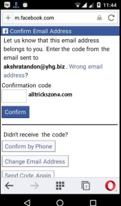 Confirm Facebook Account