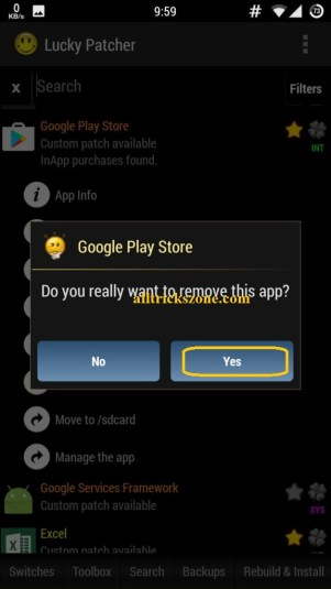 lucky patcher system app remove