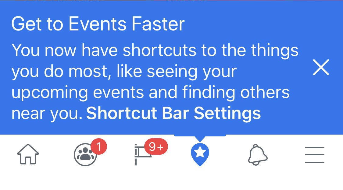 Facebook Shortcut Bar Settings Notification Dot Settings