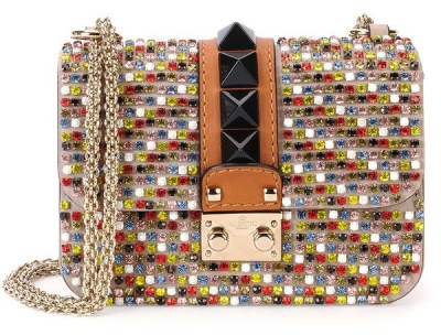 Valentino crystal chain strap handbag