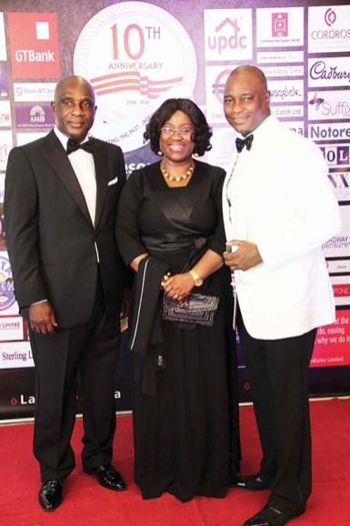 L-R: Dr Doyin Adewunmi, Mrs Funke Amobi (GroupHead; Human Capital Management Stanbic IBTC) with Olusoji Oyawoye