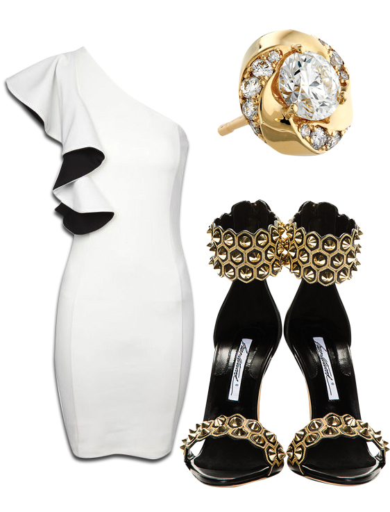 One Shoulder Monochrome Ruffle Dress, Atlantico Diamond Studs & Brian Artwood