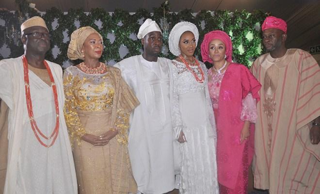 Otunba Niyi Adebayo, Erelu Angela Adebayo, Richard Adebayo, groom, his wife Reni, Mrs. Titilola Young, and Mr. Femi Young