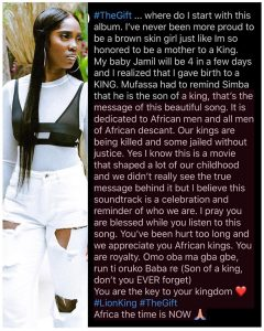 Singer, Tiwa Savage pens emotional piece about The Gift Album