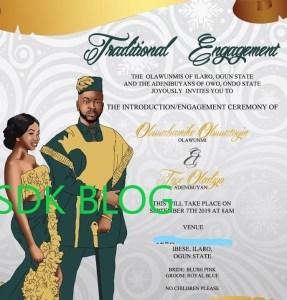 BBNaija stars Bambam and TeddyA's wedding invitation leaks (Photo)