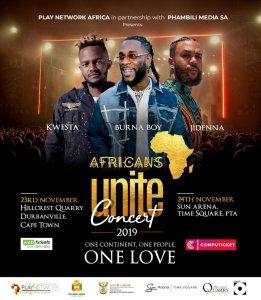 Concert flier for African unite