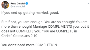 Marriage compliments you but not complete