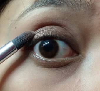 After smudging the kajal with eyeshadow brush