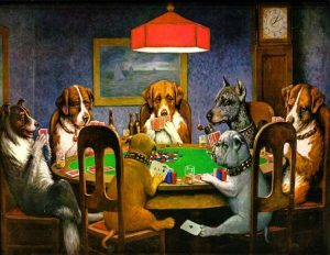 """Dogs Playing Poker"" by Cassius Marcellus Coolidge, dog man art history"