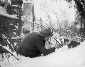 """A British soldier """"shaking hands"""" with a kitten in the snow. Neulette, France, 1917"""