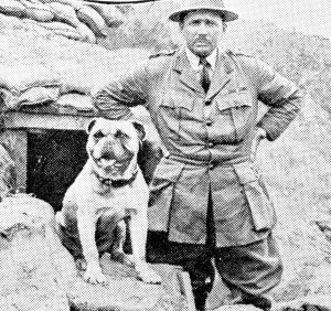Gibby, the mascot of a Canadian regiment, and his C.O. The dog had been gassed twice, but still went into action.