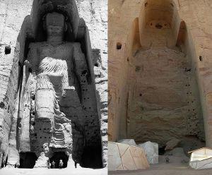 Taller Buddha of Bamiyan before and after destruction. Source, Wikipedia